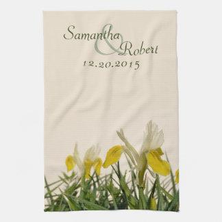 Yellow irises on cream hand towel