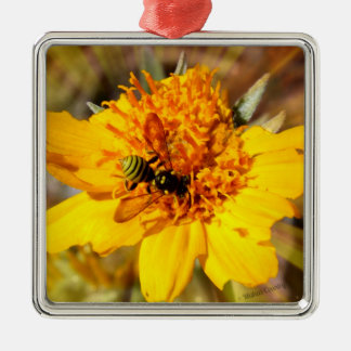 Yellow Jacket on Yellow Flower Ornaments
