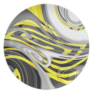 Yellow Jacket Swirl (AOM Design) Party Plate