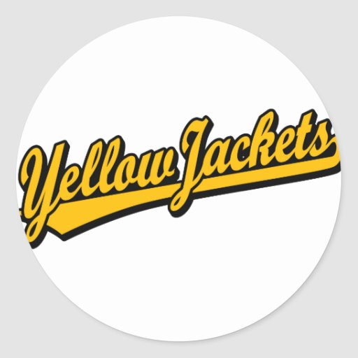 Yellow Jackets script logo in orange Classic Round Sticker