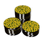Yellow jalapeno peppers pattern poker chips set