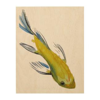 Yellow Japanese Koi watercolour art Wood Prints