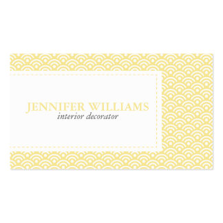 Yellow Japanese Seigaiha Pattern Business Cards