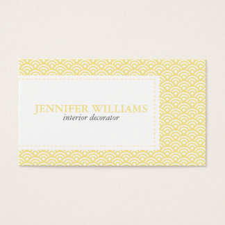 Yellow Japanese Seigaiha Pattern Business Card