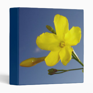 Yellow Jasmine Flower and Bud Against Blue Sky Binder
