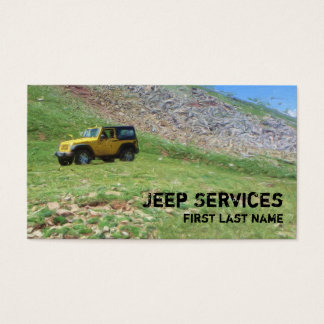 Yellow Jeep services spring scene business cards