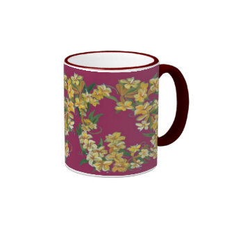 Yellow Jessamin on Burgundy Background Coffee Mugs
