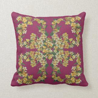 Yellow Jessamine on Burgundy Backgroun Pillow