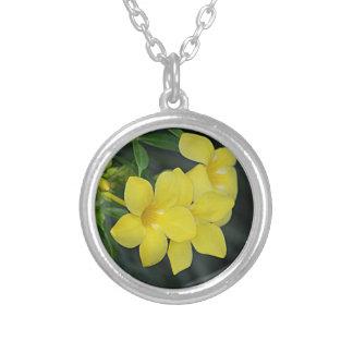 Yellow Jessamine South Carolina Round Pendant Necklace
