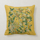 Yellow Jessamine Throw Pillow on Gold Background