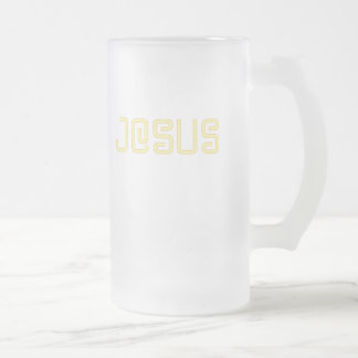 Yellow Jesus Frosted Glass Beer Mug