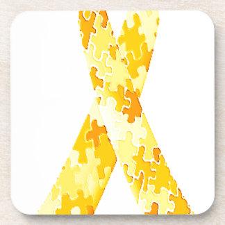 Yellow Jigsaw Puzzle Pattern Ribbon Beverage Coasters