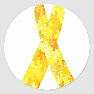 Yellow Jigsaw Puzzle Pattern Ribbon Classic Round Sticker