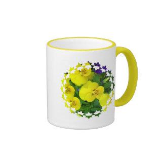 Yellow Johnny Jump Up Flowers Ceramic Coffee Mug