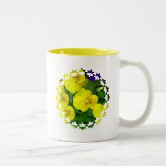Yellow Johnny Jump Up Flowers Coffee Mug
