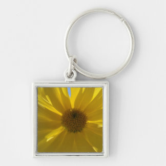 Yellow Joy Silver-Colored Square Keychain