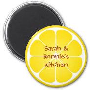 Yellow juicy lemon slice round magnet party favor at Zazzle
