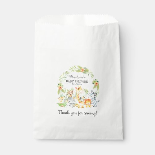 Yellow Jungle Animals Baby Shower Favor Bags