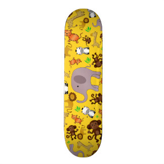 Yellow jungle safari animals skateboards