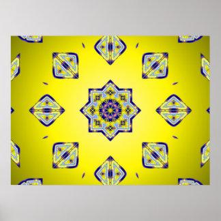 Yellow Kaleido Squares Poster