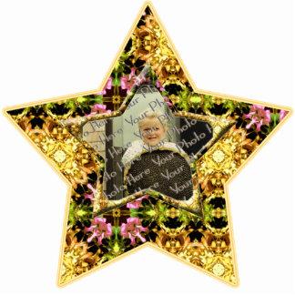 Yellow Kaleidoscope  Custom Photo Star Ornament Photo Cut Out