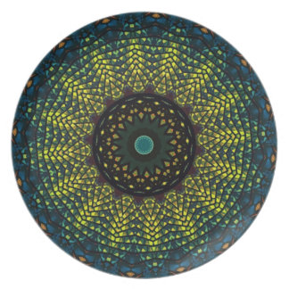 Yellow Kaleidoscope Decorative Plate