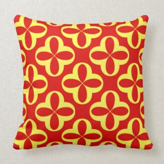 Yellow Kaleidoscope Flowers on Red Reversible Throw Pillows