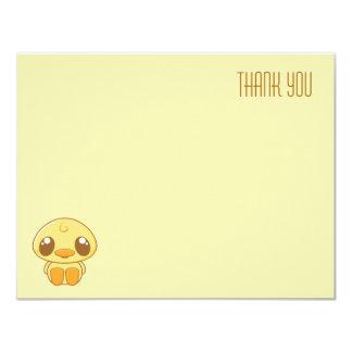 Yellow Kawaii Duckling | Flat Thank You Note Card