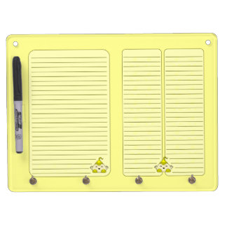 Yellow Kawaii Tickle Monster Dry Erase Board With Keychain Holder