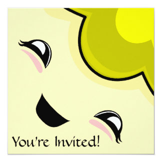 "Yellow Kawaii Tickle Monster 5.25"" Square Invitation Card"