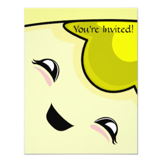 "Yellow Kawaii Tickle Monster 4.25"" X 5.5"" Invitation Card"