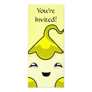 "Yellow Kawaii Tickle Monster 4"" X 9.25"" Invitation Card"