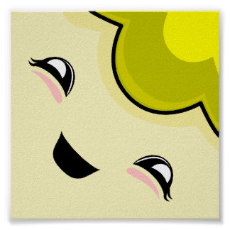 Yellow Kawaii Tickle Monster Posters