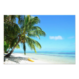 Yellow kayak on a white sand beach photo print