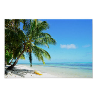Yellow kayak on a white sand beach poster