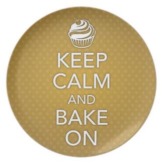 Yellow Keep Calm and Bake On Plate