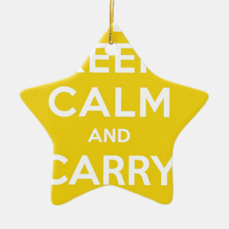 Yellow Keep Calm And Carry Om Ceramic Ornament