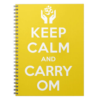 Yellow Keep Calm And Carry Om Spiral Notebook