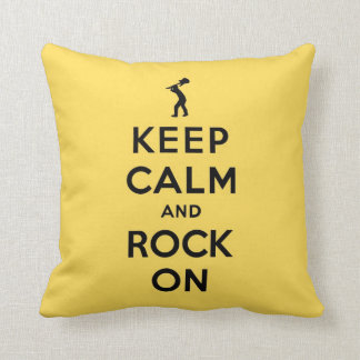 Yellow Keep calm and rock on Throw Pillow