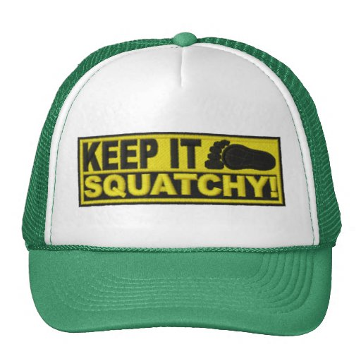 """Yellow KEEP IT SQUATCHY!  """"embroidered-look"""" print Hat"""