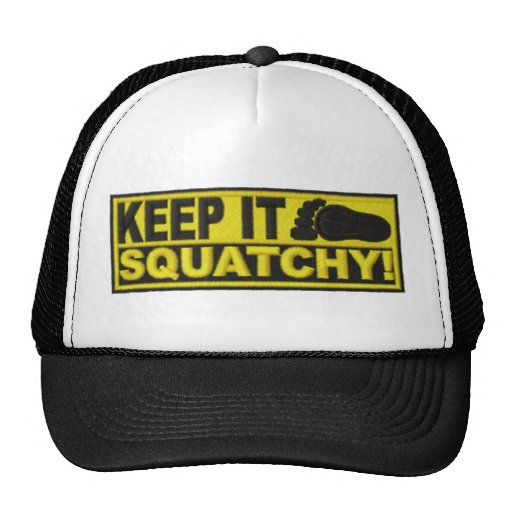 """Yellow KEEP IT SQUATCHY!  """"embroidered-look"""" print Hats"""