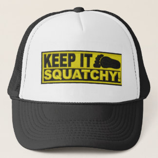 "Yellow KEEP IT SQUATCHY!  ""embroidered-look"" print Trucker Hat"
