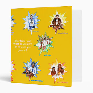 Yellow kids binder with Professionals as Cartoons