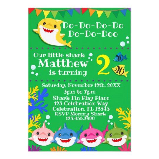 yellow kids shark green birthday invitation  zazzle