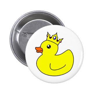 Yellow King Rubber Duck Pinback Button
