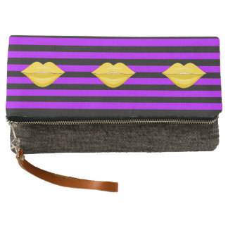 Yellow kiss lips black purple fold-over clutch