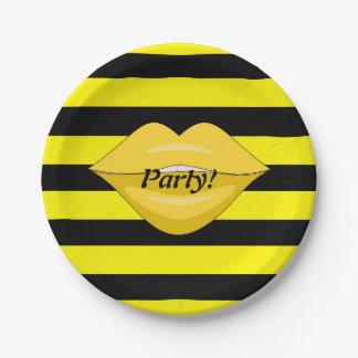 Yellow kiss lips black stripes party paper plates