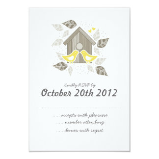 yellow kissing birds RSVP Personalized Invite