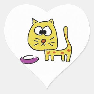 Yellow Kitty Cat Heart Sticker