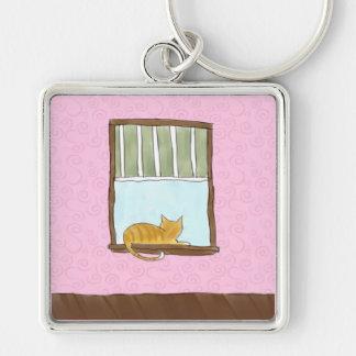 Yellow Kitty in a Window Keychain
